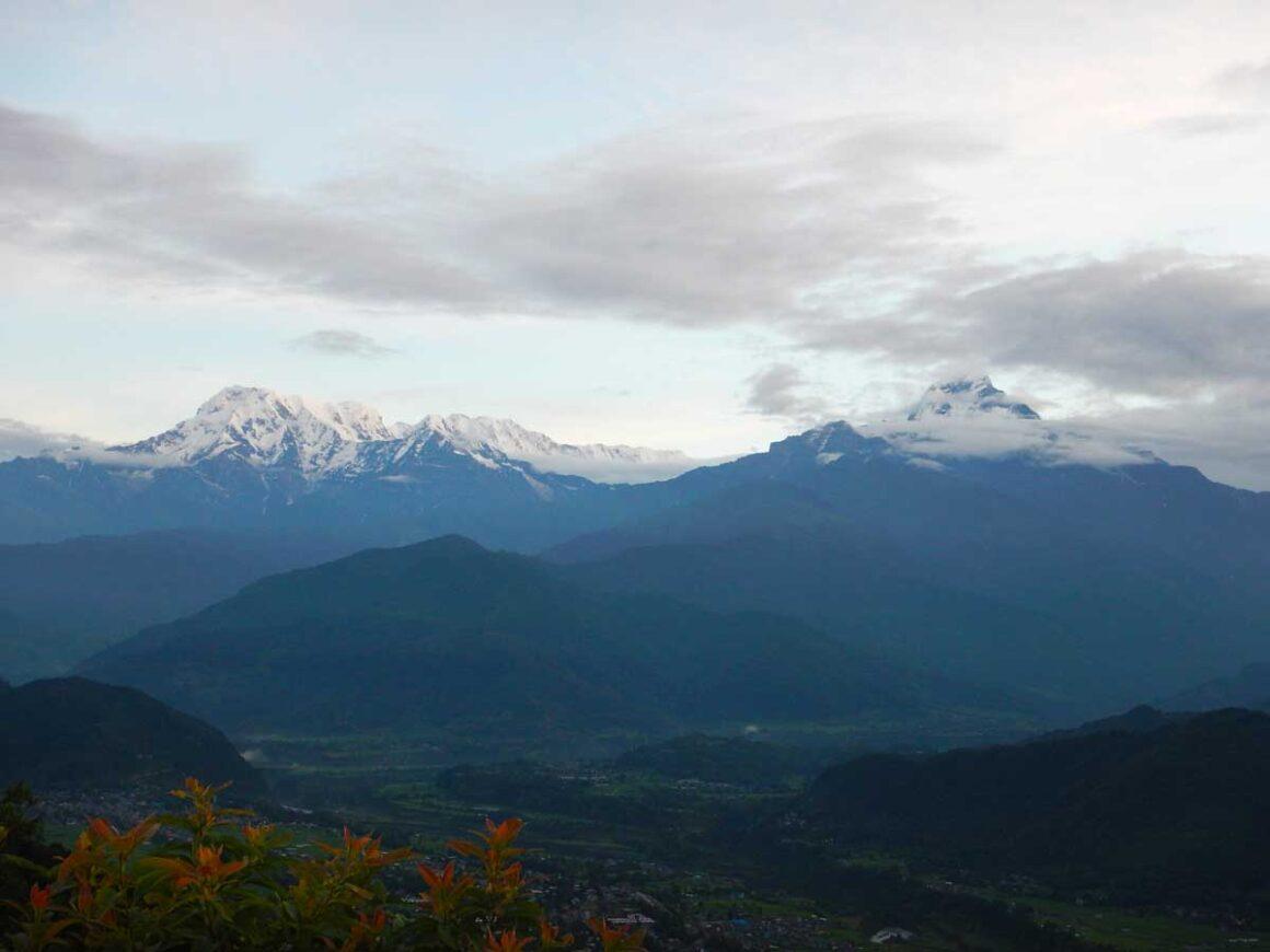 Le cime dell'Annapurna all'alba, dalla collina di Sarangkot, Nepal