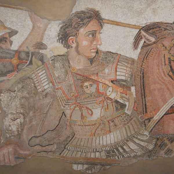 Dettaglio del mosaico che rappresenta la battaglia fra Alessandro Magno e Dario al MANN di Napoli