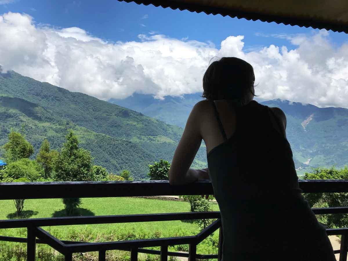 Dhampus, vista dal terrazzo del Dhaulagiri View Hotel